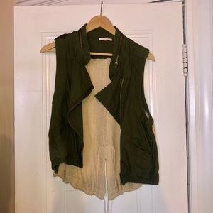 Olive Green and Crocheted Back Vest